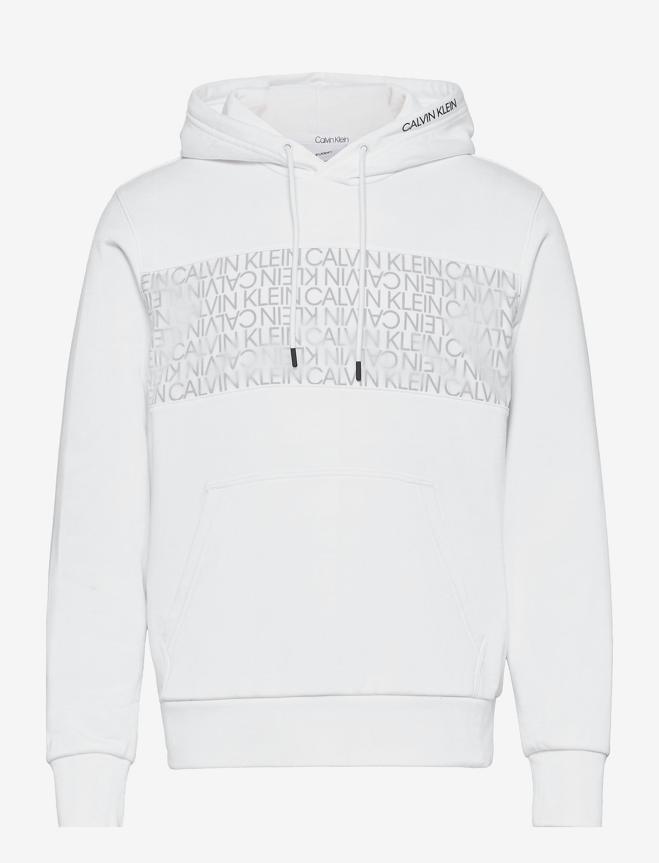 Calvin Klein - TRANSPARENT NYLON LOGO HOODIE - hoodies - bright white - 0