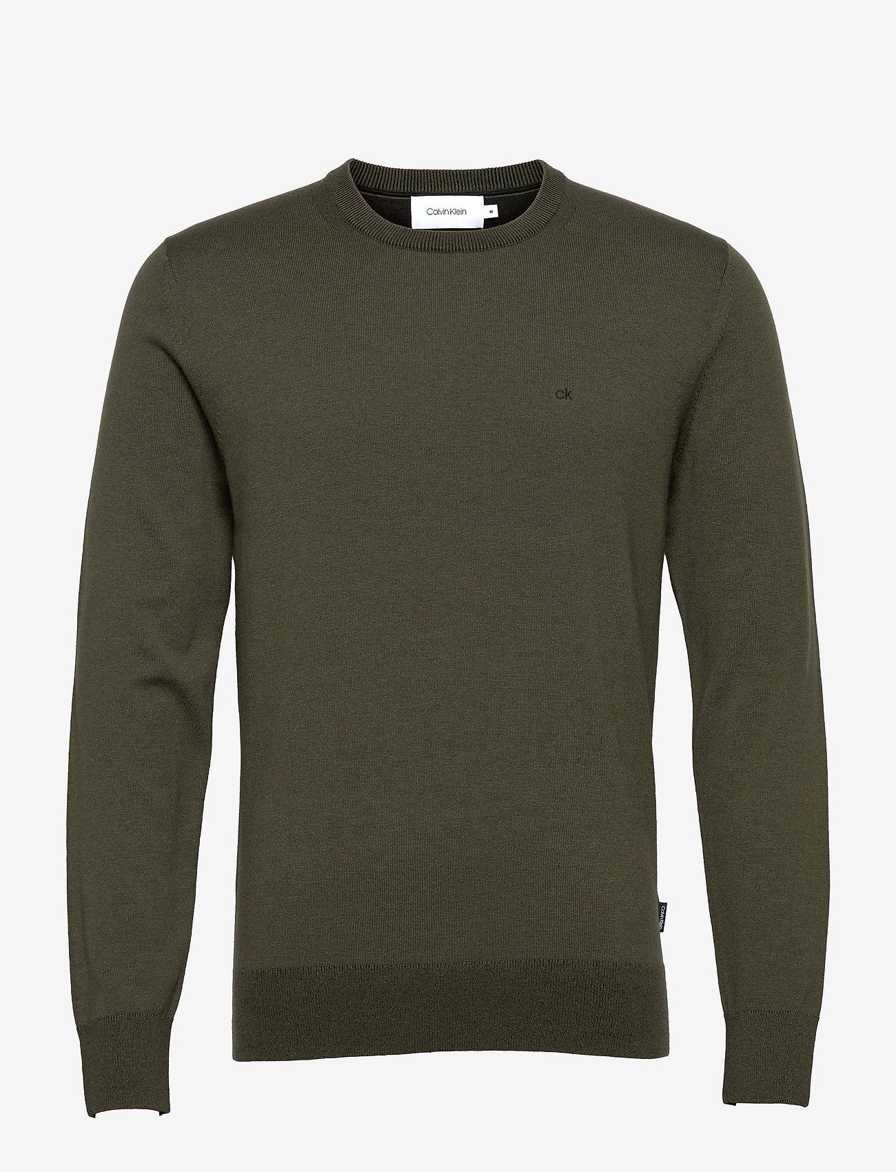 Calvin Klein - COTTON SILK C-NECK SWEATER - basic gebreide truien - dark olive - 0