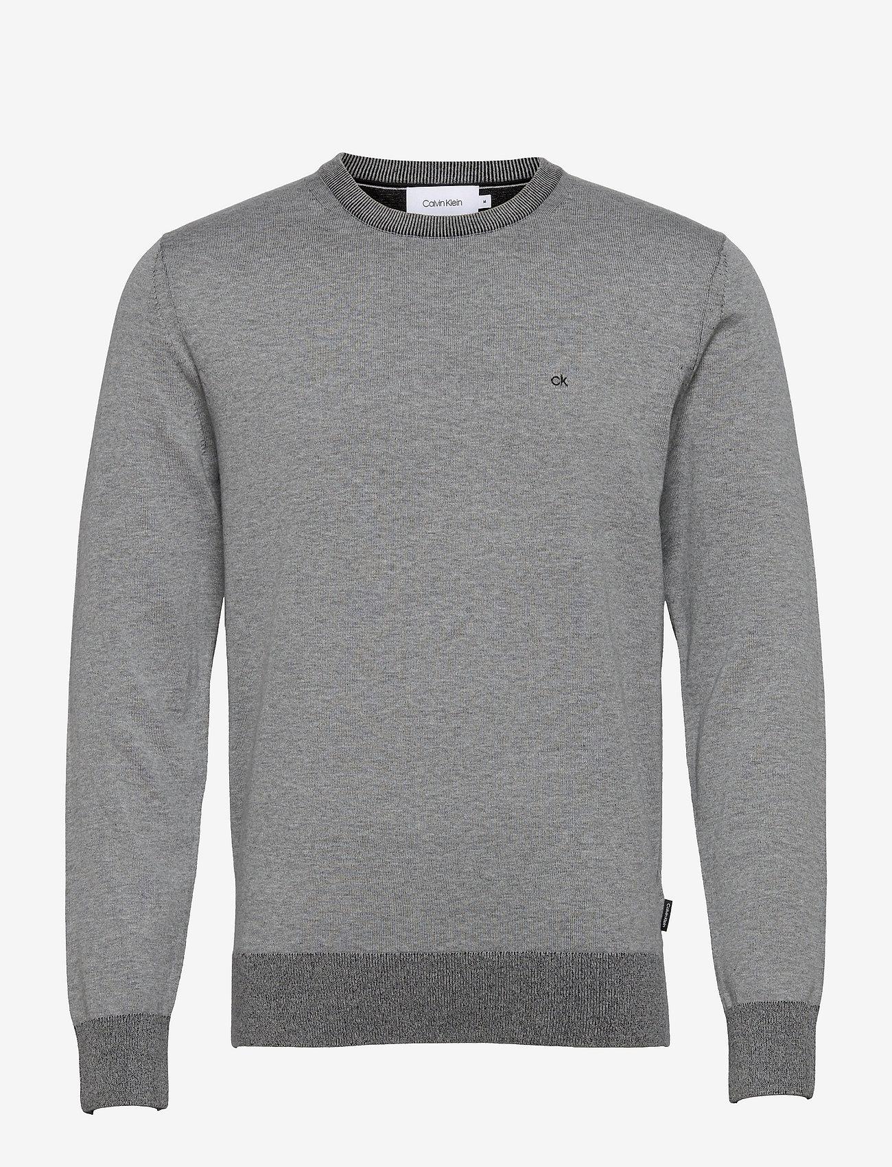 Calvin Klein - COTTON SILK C-NECK SWEATER - basic gebreide truien - mid grey heather - 0