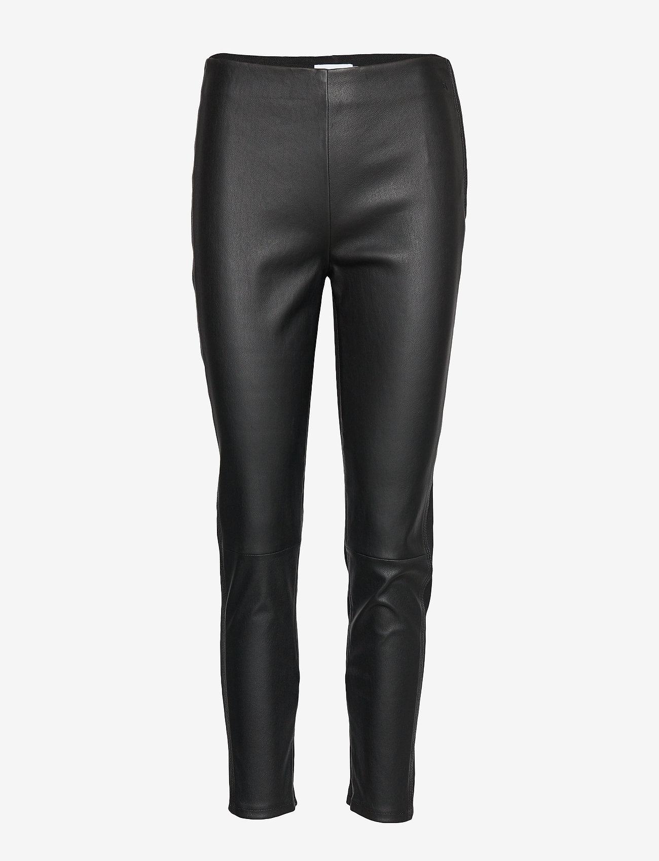Calvin Klein - ESSENTIAL LEATHER MIX LEGGING - lederhosen - calvin black - 0