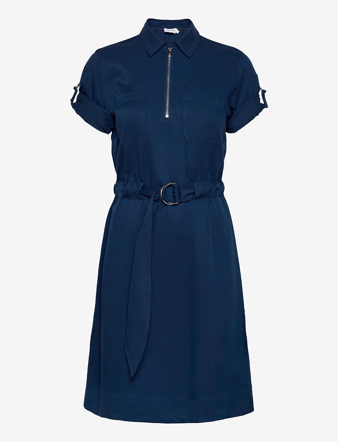 Tencel 3/4 Slv Zip Up Mini Dress (Blue Jean) (1700 kr) - Calvin Klein