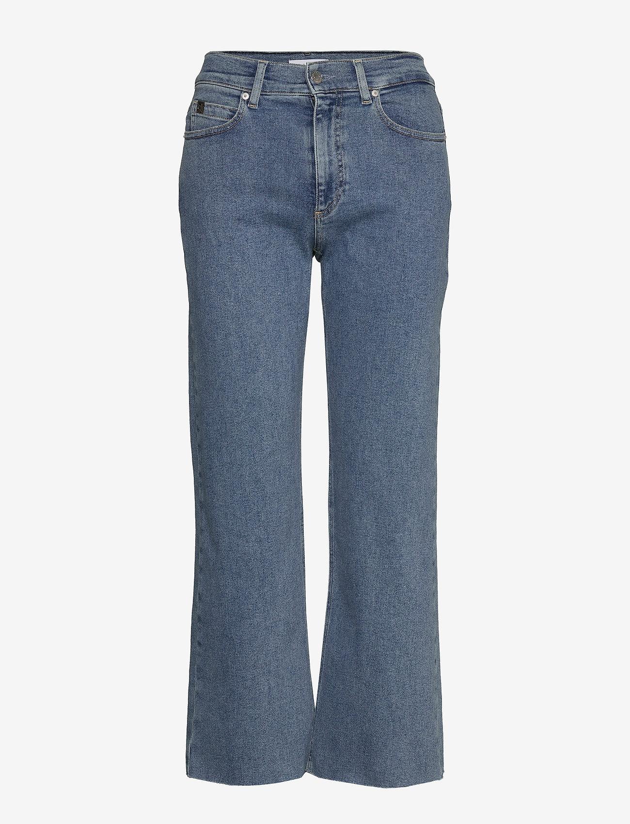 Calvin Klein - WIDE LEG CROP PANT - broeken met wijde pijpen - natal blue - 0