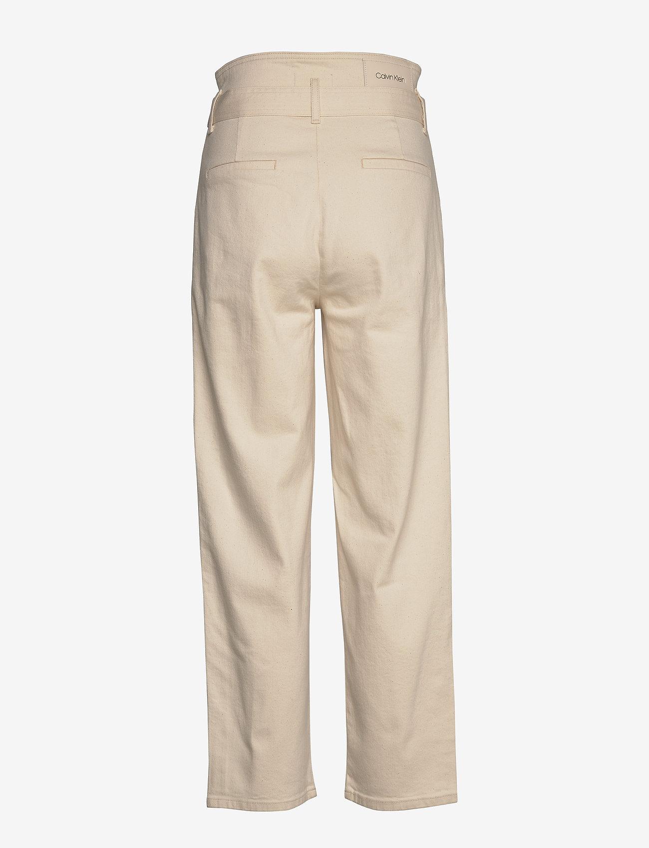 Calvin Klein - PAPER BAG DENIM PANT - bukser med brede ben - olinda ecru - 1