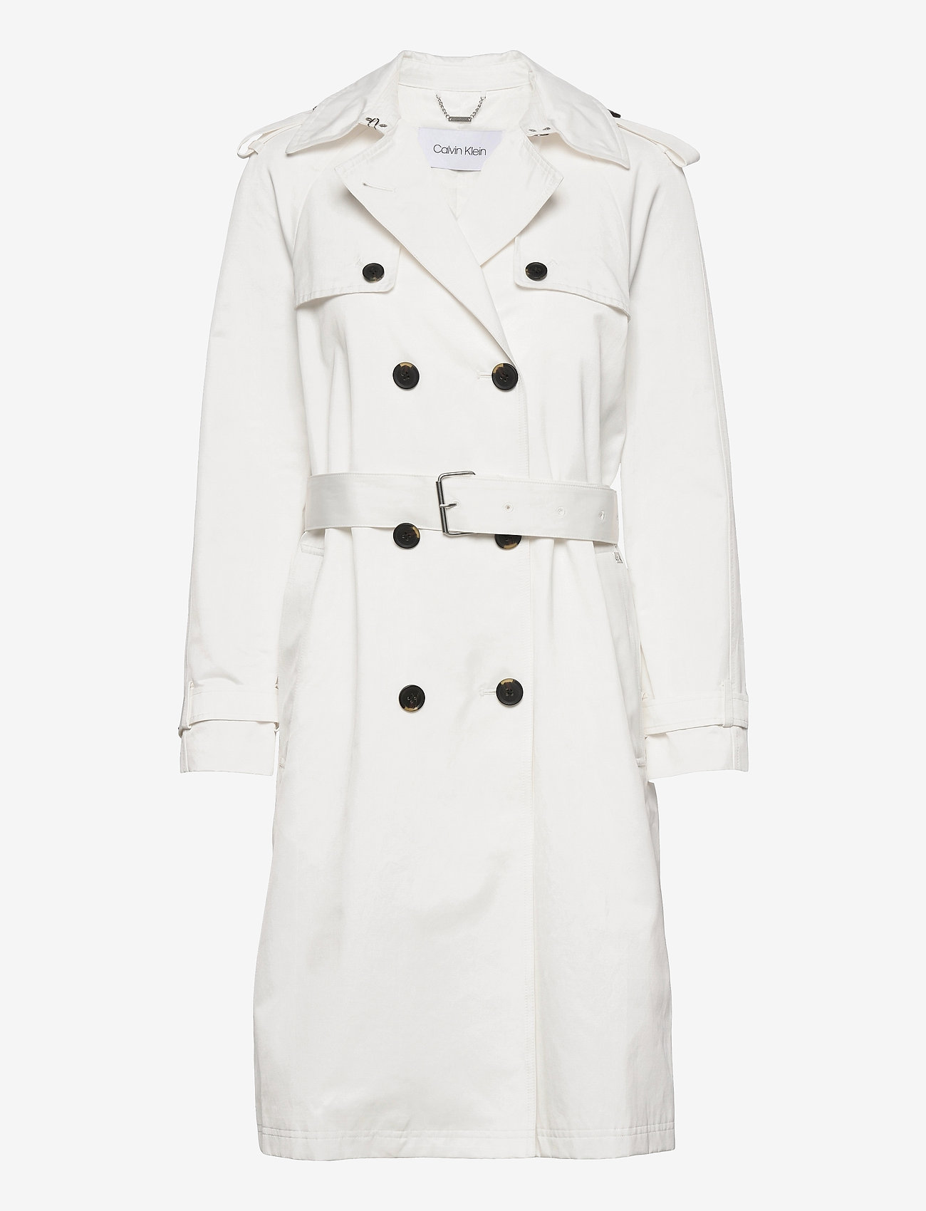 Calvin Klein - COTTON NYLON TRENCH COAT - trenchcoats - ecru - 0