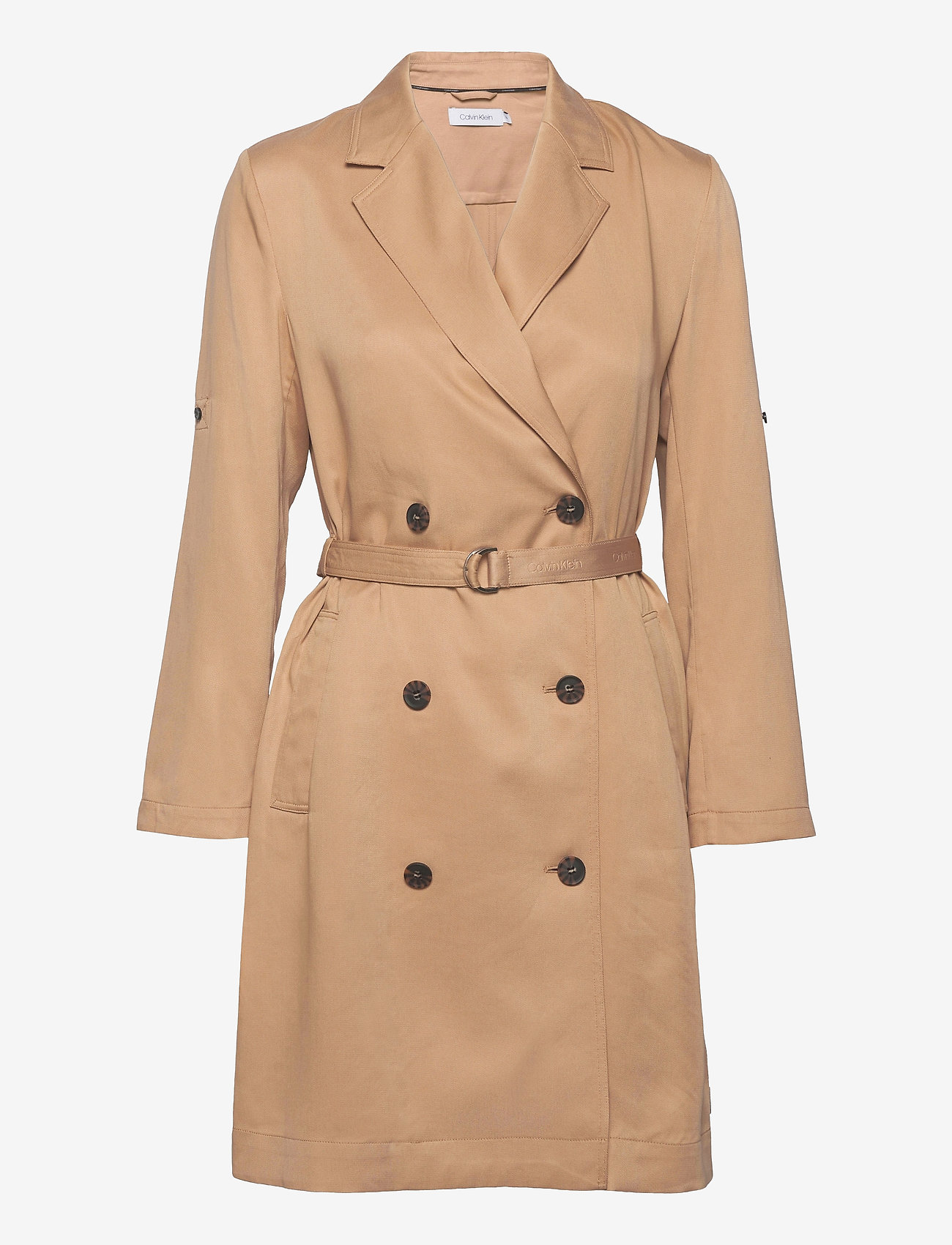 Calvin Klein - TENCEL TRENCH DRESS - trenchcoats - travertine - 0
