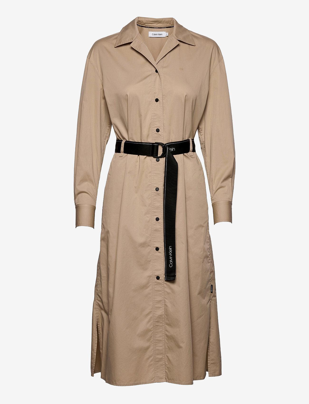 Calvin Klein - SILKY TOUCH LS SHIRT DRESS - hverdagskjoler - humus - 0