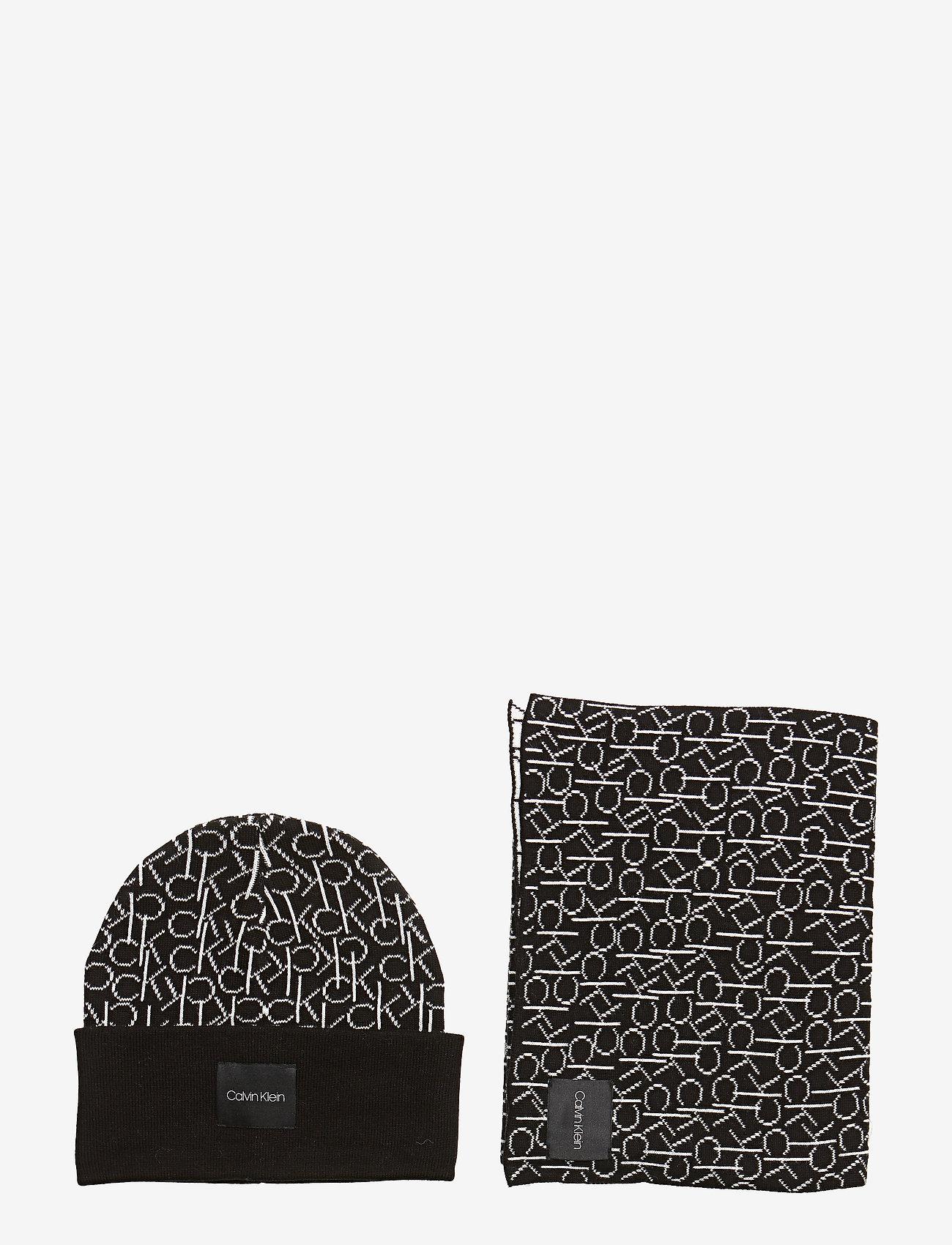 Calvin Klein - CK KNITTED SCARF&BEA - mutsen - black - 0
