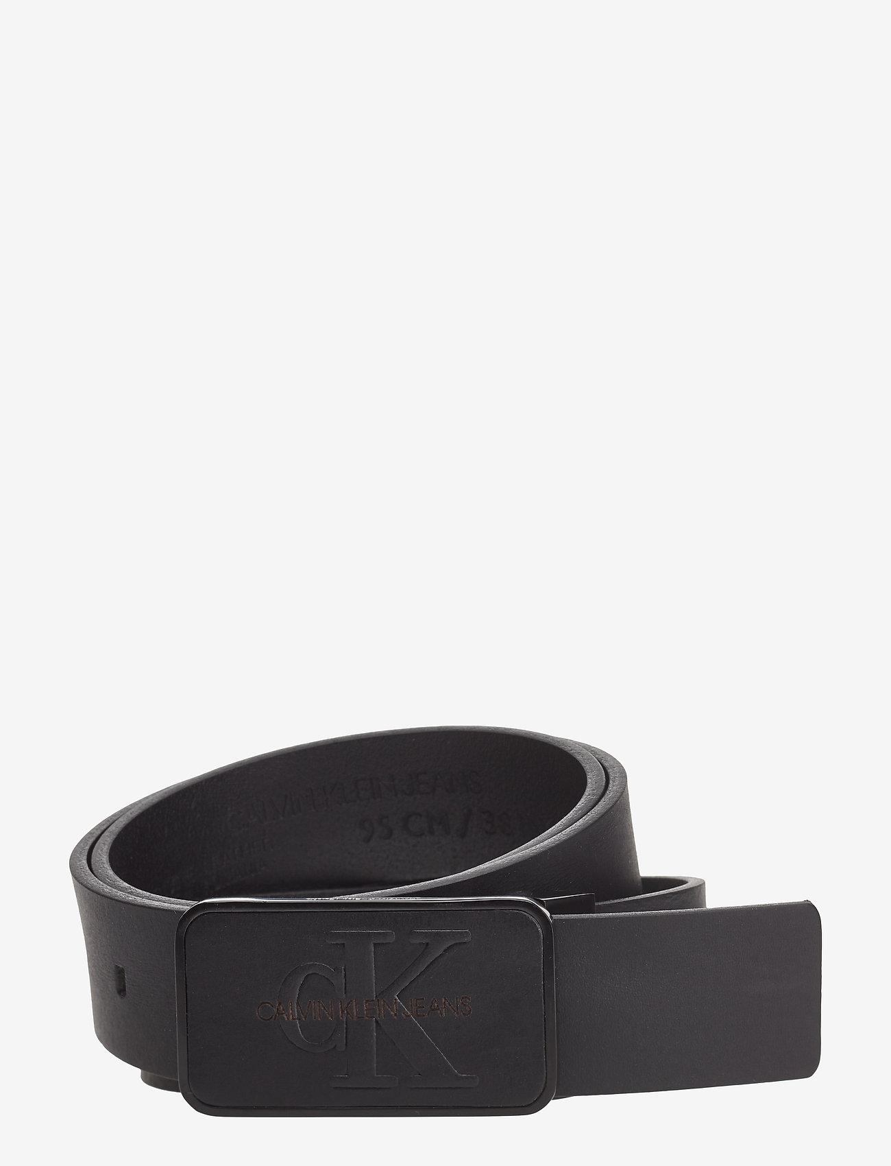 Calvin Klein - J 3.5CM ADJ MONO PLA - belts - black - 0