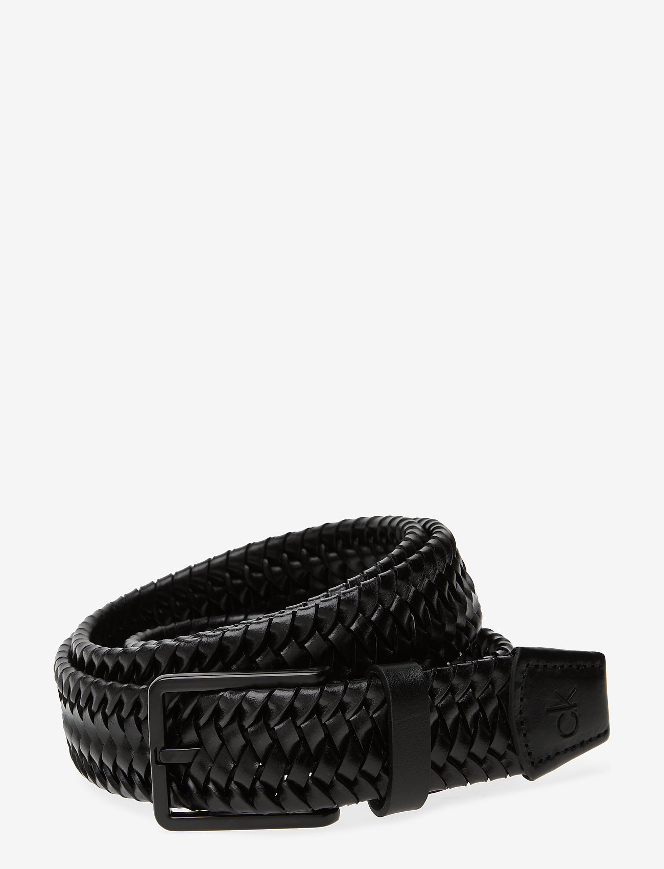Calvin Klein - 35MM BRAIDED FIXED LEATHER BELT - braided belts - black