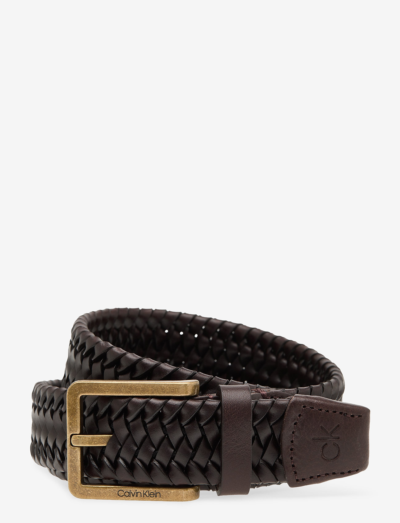 Calvin Klein - 35MM BRAIDED FIXED LEATHER BELT - gevlochten riemen - dark brown - 0