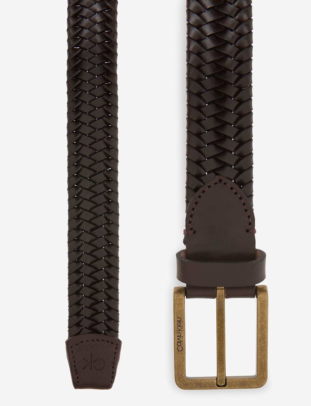 Calvin Klein - 35MM BRAIDED FIXED LEATHER BELT - gevlochten riemen - dark brown - 1