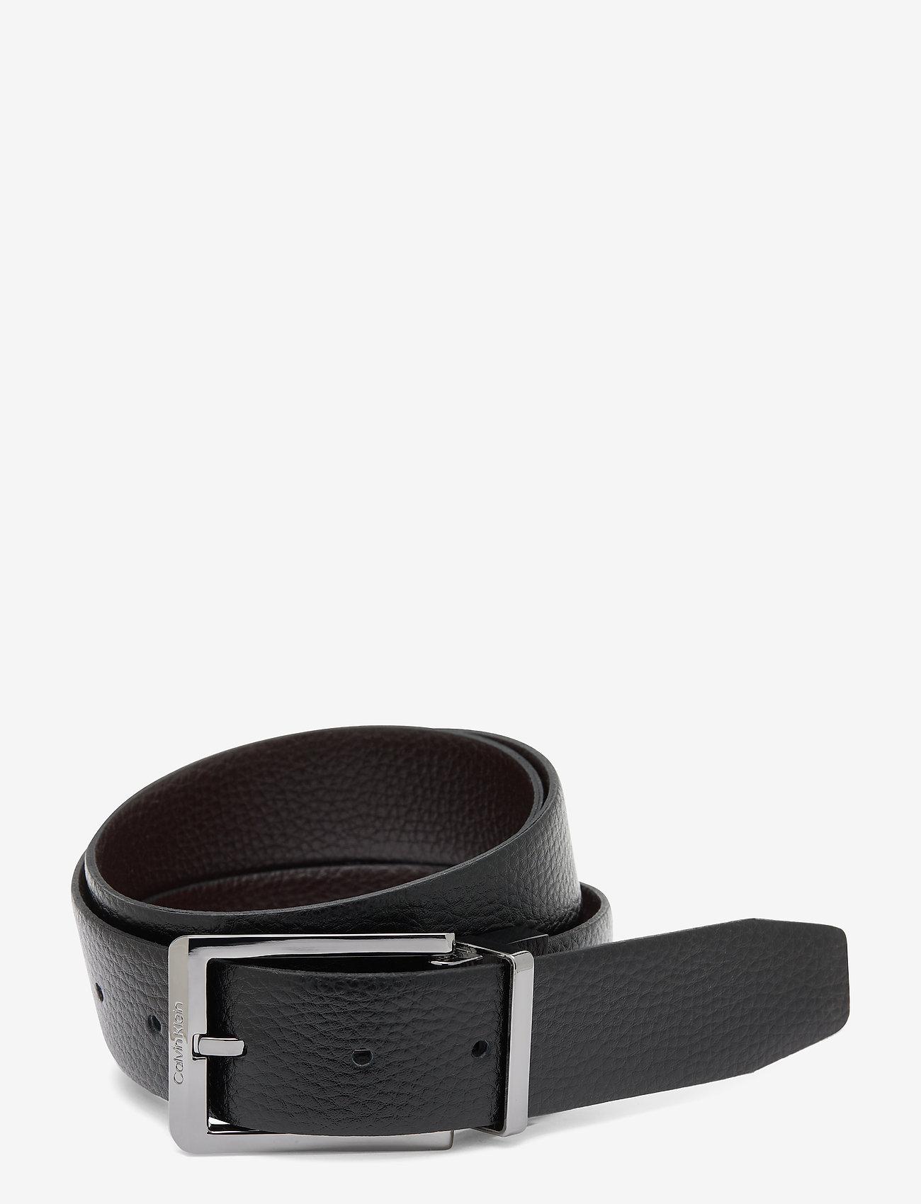 Calvin Klein - 35MM ADJ/REV SKIVED BUCKLE - ceintures classiques - black / dark brown - 0