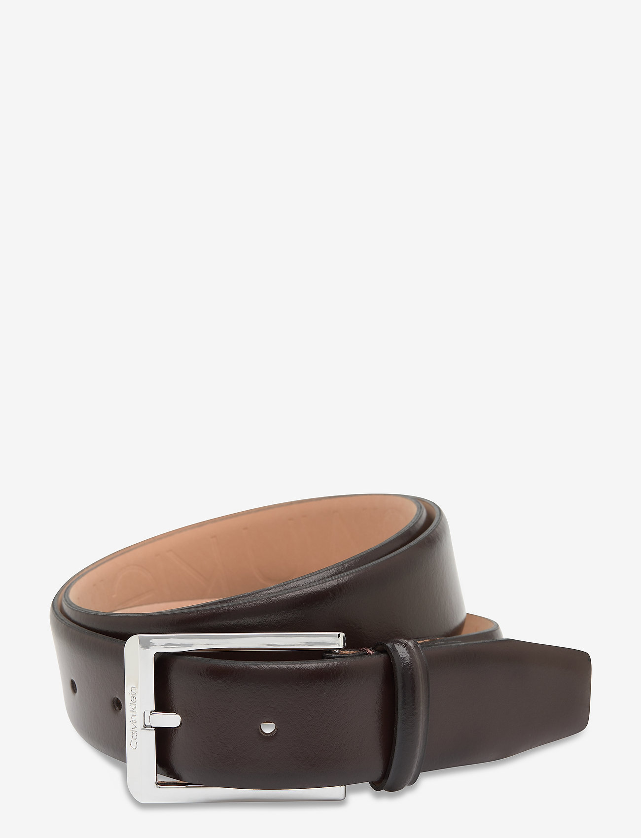 Calvin Klein - 35MM ADJ SKIVED BUCKLE - belts - dark brown - 0