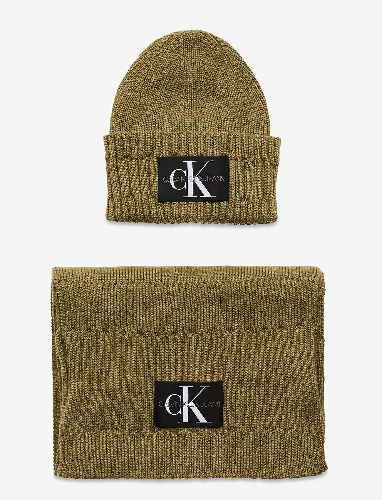 Calvin Klein - BEANIE + SCARF - chapeaux - olive night - 0