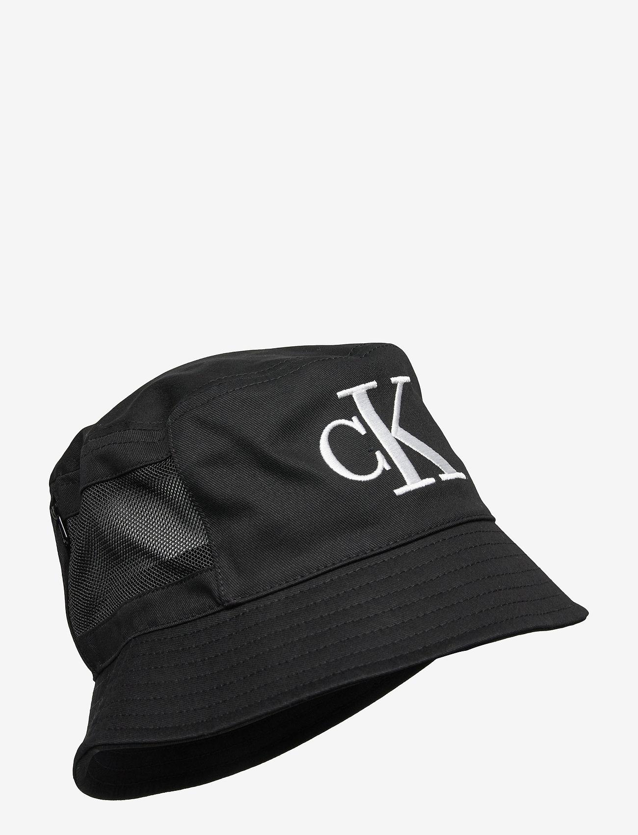 Calvin Klein - MESH MONO BUCKET - bucket hats - black - 0