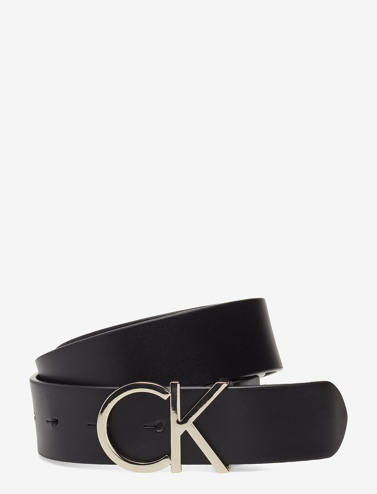 Calvin Klein - CK ADJ.LOGO BELT 3.5CM - riemen - black leather & light gold buc - 0