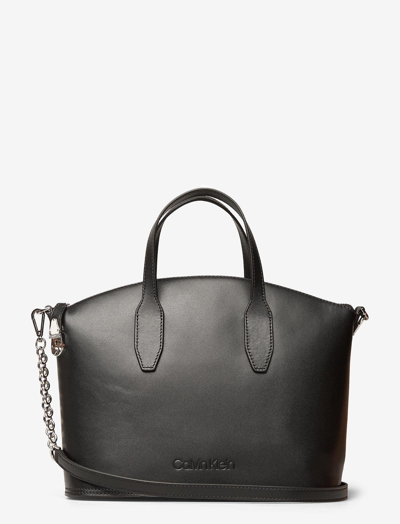 Calvin Klein - LOCK DOMED TOTE - handväskor - black - 0