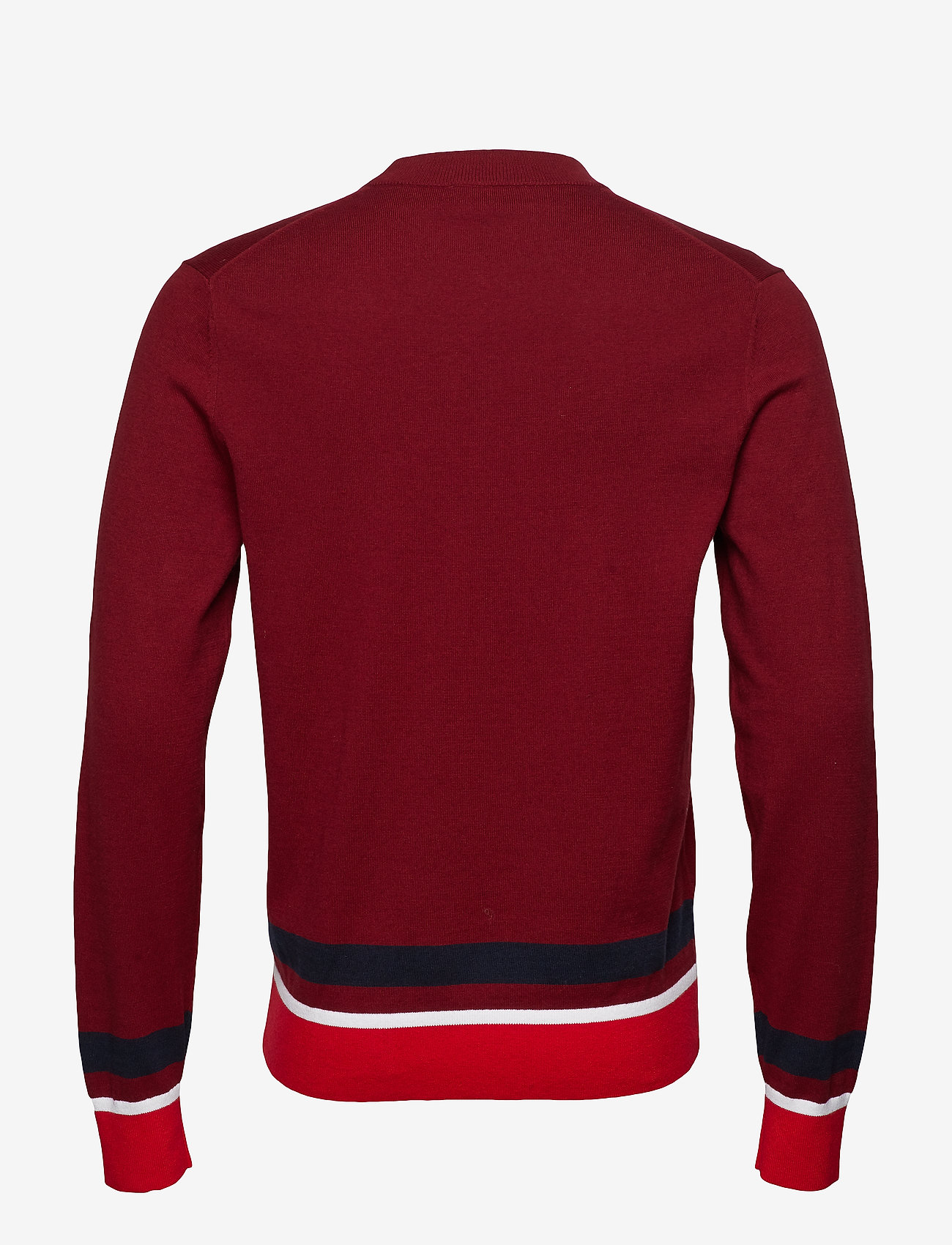 Calvin Klein - COLOR BLOCK COTTON W - knitted round necks - iron red
