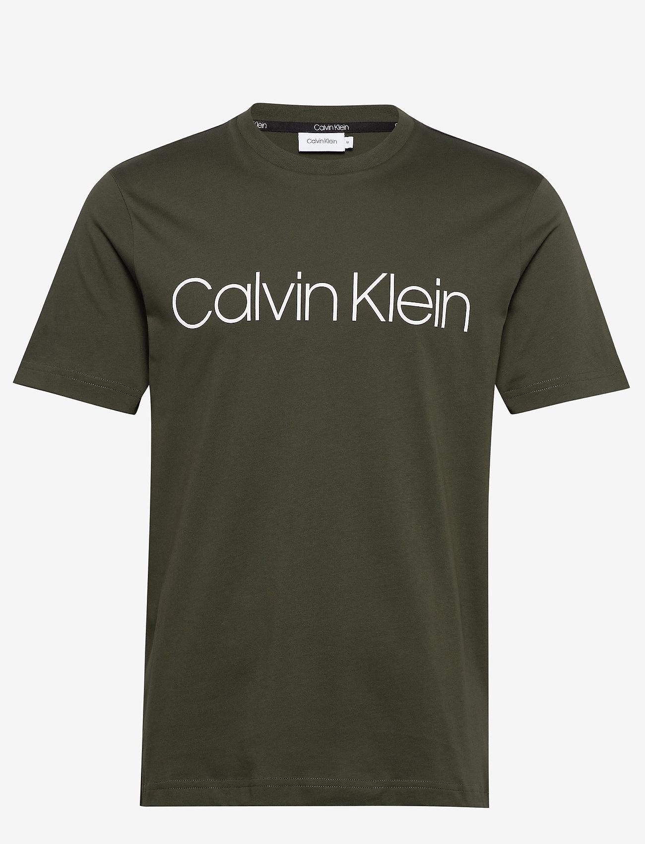 Calvin Klein - COTTON FRONT LOGO T-SHIRT - short-sleeved t-shirts - dark olive