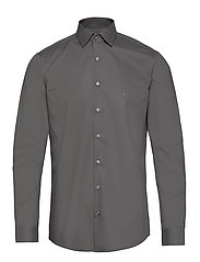 2PLY POPLIN STRETCH SLIM SHIRT - CHARCOAL