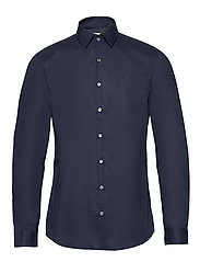 2PLY POPLIN STRETCH SLIM SHIRT - MIDNIGHT BLUE