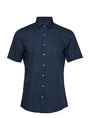 POPLIN STRETCH SLIM S/S SHIRT - DF MIDNIGHT BLUE