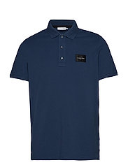 PIQUE CONTRAST LOGO POLO - DENIM BLUE