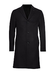 Calvin Klein CASHMERE WOOL CROMBIE COAT - CALVIN BLACK