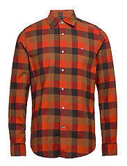 BRUSHED TWILL CHECK SHIRT - BLOCK CHECK - CURRIED PUMPKIN