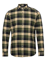 BRUSHED TWILL CHECK SHIRT - BLOCK CHECK - BLACK / OLIVE /