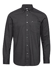 BUTTON DOWN BRUSHED TWILL SHIRT - CALVIN BLACK