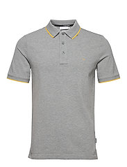 STRETCH TIPPING SLIM POLO - MID GREY HEATHER