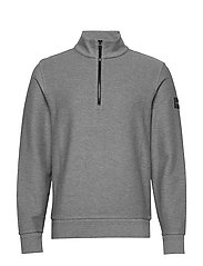TONAL REVERSE HALF ZIP MOCK NECK - MID GREY HEATHER
