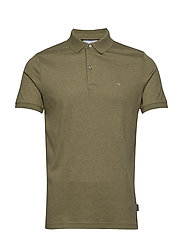 SOFT INTERLOCK SLIM POLO - DELTA GREEN HEATHER