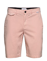 SLIM FIT GARMENT DYED SHORTS - NUDE LUSTRE