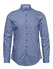 FLOWER PRINT SLIM SHIRT - BLUE
