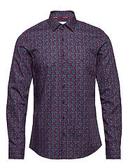 FLOWER PRINT SLIM SHIRT - NAVY