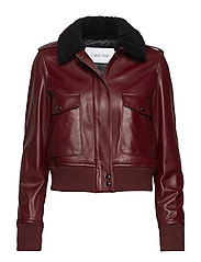 ZIP UP LTR SHEARLING - IRON RED