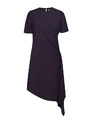 FLUID STP DRAPE DRES - NARROW STRIPE DEEP NAVY