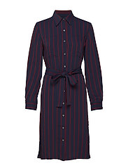 FLUID STP SHIRT DRES - NARROW STRIPE DEEP NAVY