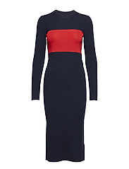 STP RIB C-NK DRESS L - DEEP NAVY / CRIMSON