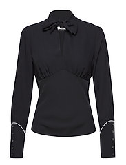 BOW TIE BLOUSE LS - BLACK