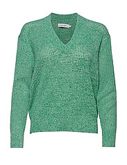 MICRO LACE MOULINE V-NK SWTR - PERFECT WHITE / FERN GREEN