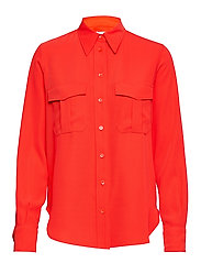 SMOOTH TWILL POLICE PKT SHIRT LS - CHERRY RED