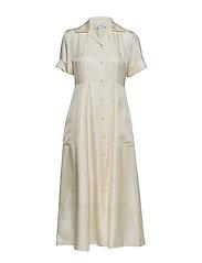 SILK TWILL LONG SHIRT DRESS SS - CALICO