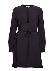 TRAVEL CREPE LS ZIP DETAIL DRESS - CALVIN BLACK
