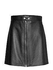 LEATHER ZIP UP MINI SKIRT - CALVIN BLACK