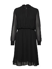 GEORGETTE RUFFLE DRESS - CALVIN BLACK