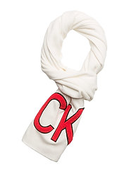 J CKJ SCARF M - BRIGHT WHITE