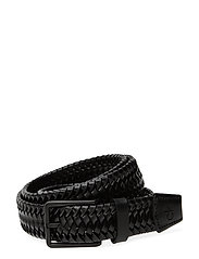 35MM BRAIDED FIXED LEATHER BELT - BLACK